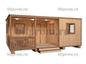 Дачная бытовка-домик Б-14 Д с большой верандой (6,5 x 5,0 м)