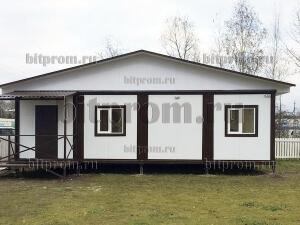 Модульный домик БМ-013 СП с крыльцом и двускатной крышей