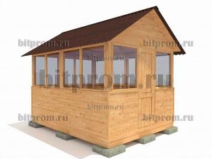 Беседка деревянная БС-06 «Домик с остеклением»