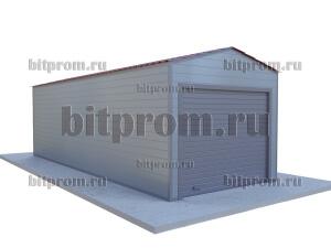 Металлический гараж ГК-02 СП с внешней отделкой сэндвич-панелями