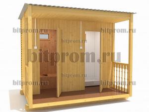 ХБ-06 – небольшой хозблок с террасой, туалетом и душем