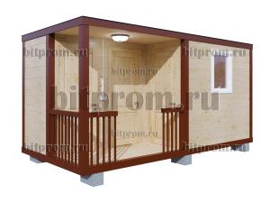ХББК-09 (5м) – хозблок с туалетом и душем, отделанный имитацией бруса