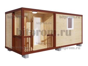 ХББК-09 (6м) – хозблок с туалетом и душем, с отделкой имитацией бруса