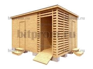Хозблок-бытовка 3 в 1 с дровником и туалетом ХБД-02 (4,5м)