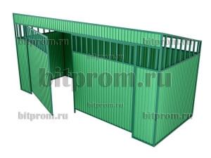 Контейнерная площадка КПМ-03 с воротами (на 4 бака)