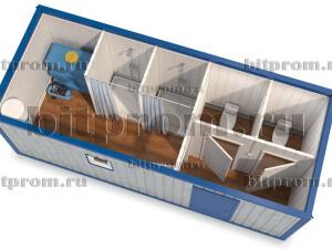СБК-10 – сантехнический модуль с двумя душевыми и двумя туалетными кабинами